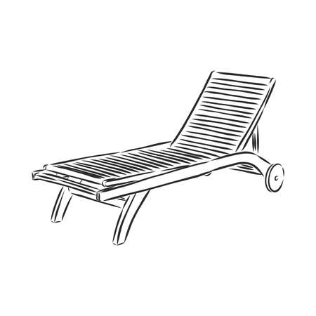 Hand drawn vector illustration in black ink on white background. A beach bed in doodle style. Isolated outline.