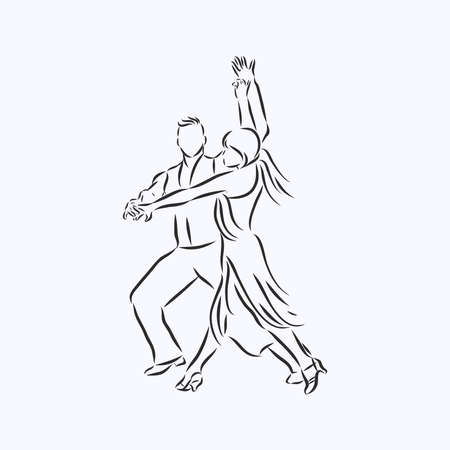 Illustration of a dancing man and woman. Icon ballroom, sports dances. Tango, waltz, Latin American dances. Vector flat illustration.