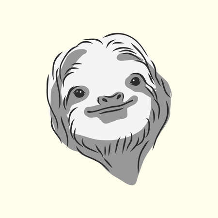 Sloth outline illustration. sloth, vector sketch illustration Ilustração