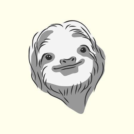Sloth outline illustration. sloth, vector sketch illustration Illustration