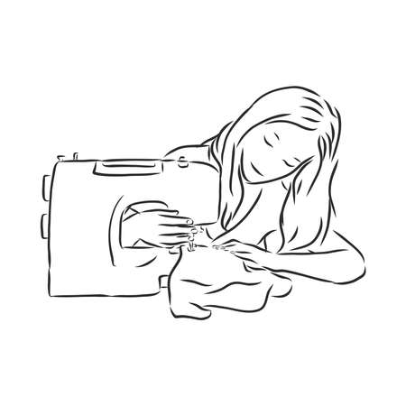 Sewing machine isolated sketch handmade . seamstress vector sketch illustration