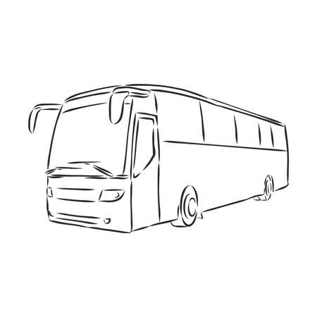 modern bus symbol, outlined vector icon Vetores