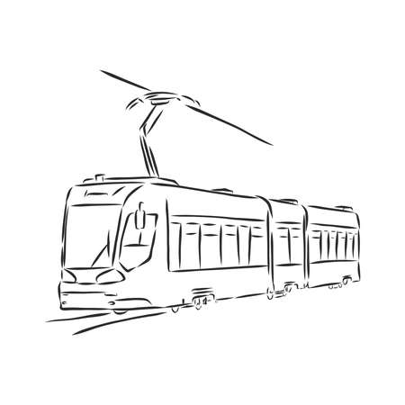 Isolated vector illustration of a tram. Public urban transportation. Hand drawn linear doodle ink sketch. Black silhouette on white background. tram vector sketch illustration
