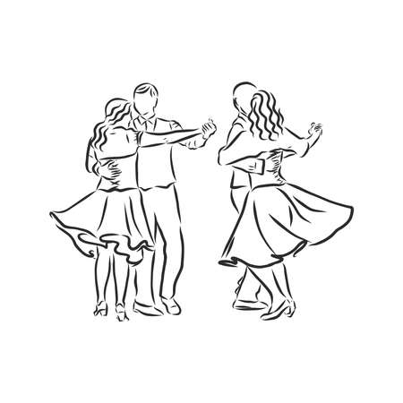 folk dance, folia dance, portuguese landscape. folk dance vector sketch