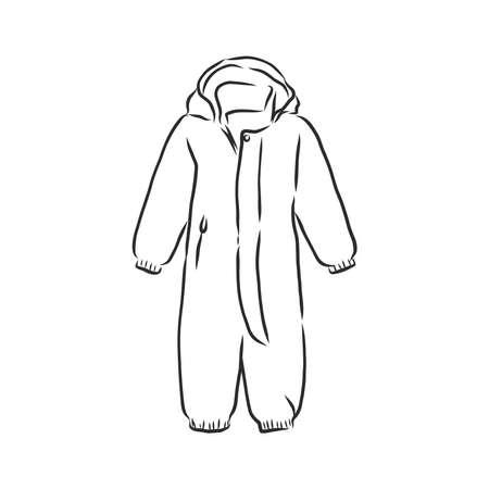 Children's jumpsuit with the hood. Sketch. children's winter jumpsuit vector illustration Vecteurs