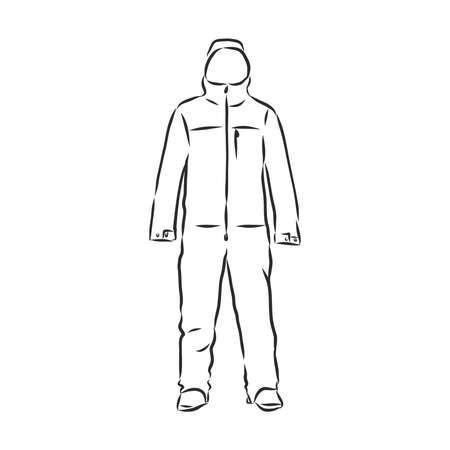 Vector illustration of men's overall. men's overalls vector sketch Illustration