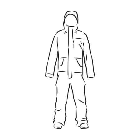 Vector illustration of men's overall. men's overalls vector sketch