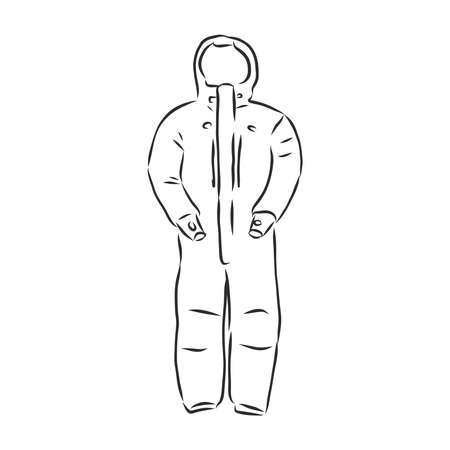 Vector illustration of men's overall. men's overalls vector sketch Illustration