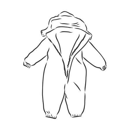 Children's jumpsuit with the hood. Sketch. children's winter jumpsuit vector illustration