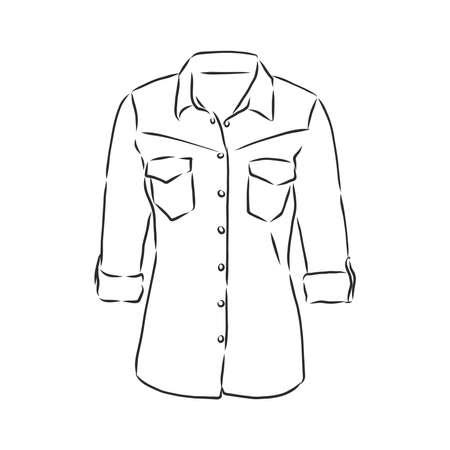 woman's shirt sketch, women's blouse, shirt, vector sketch illustration