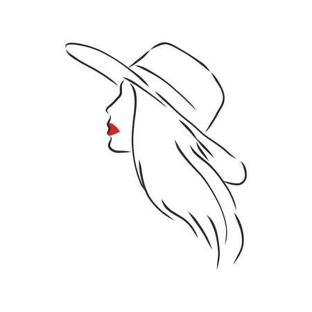 Silhouette de belle femme dans un chapeau élégant. Vecteur