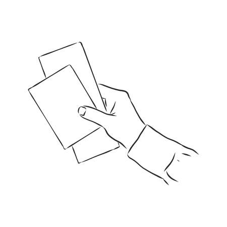 Hand-drawn sketch of hand holding ticket. tickets in hand, vector sketch