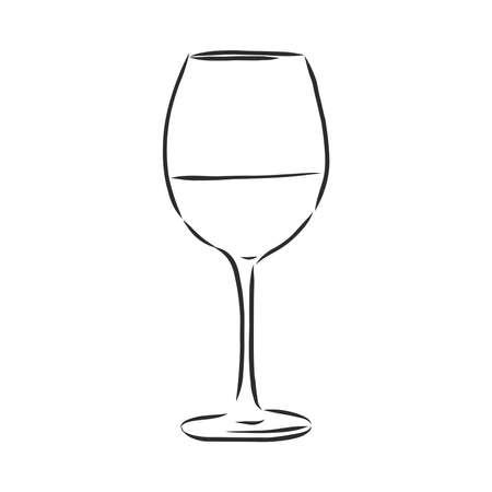 wine glass isolated. Hand drawn sketch of Claret for restaurant, bar, cafe menu design.