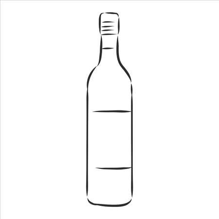 Sketch wine bottle , wine bottle, vector sketch illustration Ilustração