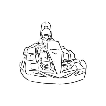Sketch of karting, sport and active lifestyle. Karting hand drawn isolated on white background. Vector design illustration.