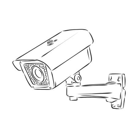 Outdoor surveillance camera. Doodle style
