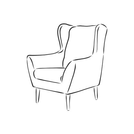 Sketch chair in linear style, outline drawing in black on a white background. Upholstered furniture for sitting, relaxing. Silhouette. vector.