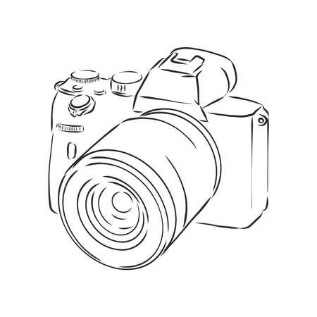 Analog photo camera sketch drawing isolated on white background