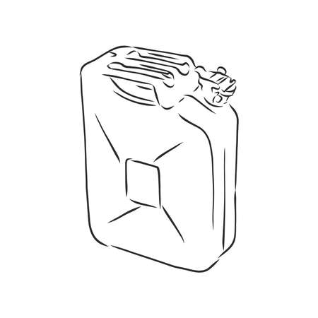 Vector Sketch Single Jerry Can. fuel canister, vector sketch illustration
