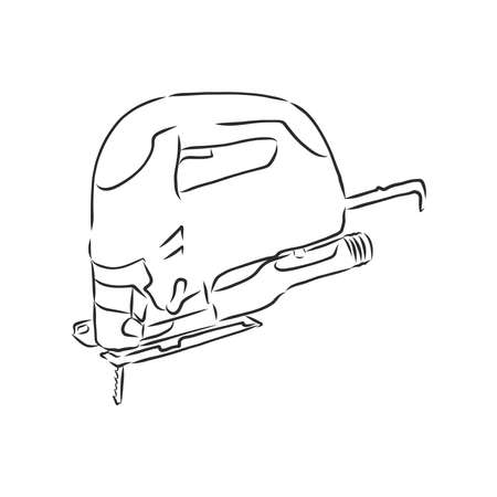 Hand drawn sketch illustration of electric jig saw vector