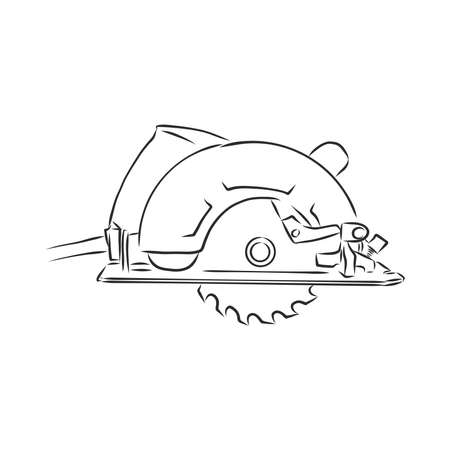 Hand drawn sketch illustration of electric circular saw vector