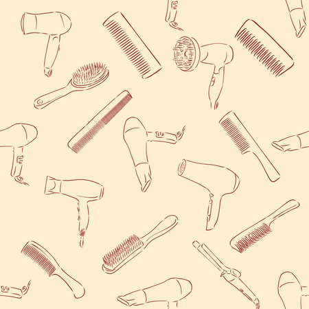 Beauty and care seamless pattern. Barber shop linear icons on white background Imagens - 151323974
