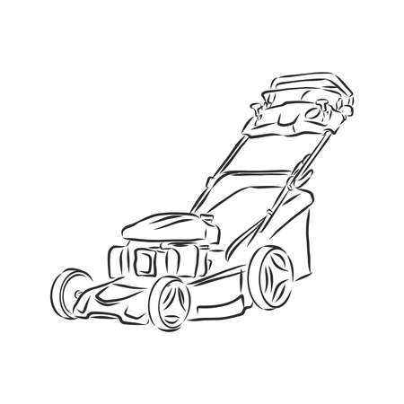 Outline lawn mower vector. Wire-frame style. The layers of visible and invisible lines. 3D illustration Ilustração