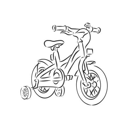 BMX. Children's bicycle. Element for extreme sports. Outdoor activity element. Black and white vector isolated on white background.
