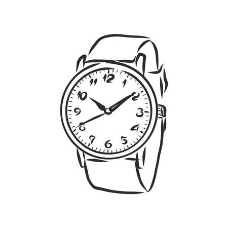 Sketch wrist watch isolated on white background