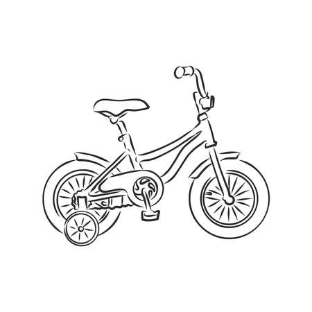 Children's bicycle. Element for extreme sports. Outdoor activity element. Black and white vector isolated on white background. Ilustracje wektorowe