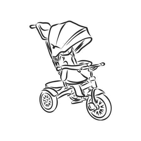 Children's bicycle. Element for extreme sports. Outdoor activity element. Black and white vector isolated on white background. Imagens - 151256545