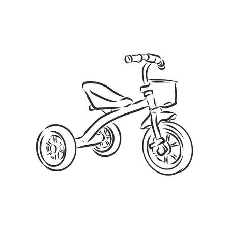 Children's bicycle. Element for extreme sports. Outdoor activity element. Black and white vector isolated on white background.