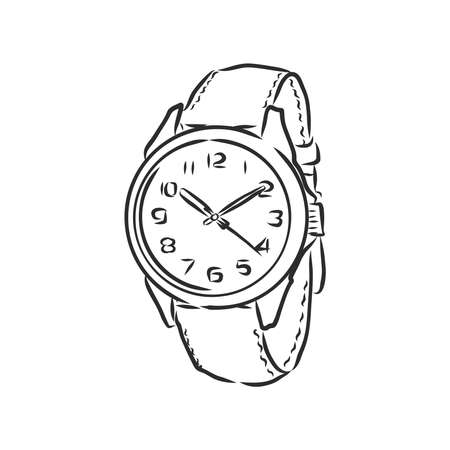 Sketch wrist watch isolated on white background. wrist watch, vector sketch illustration Ilustracja