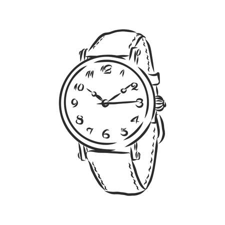 Sketch wrist watch isolated on white background. wrist watch, vector sketch illustration 向量圖像