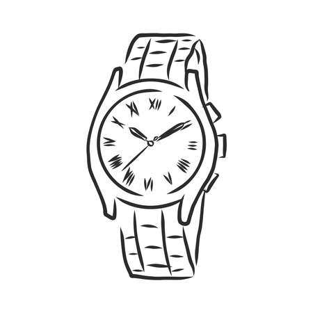 Sketch wrist watch isolated on white background. wrist watch, vector sketch illustration Imagens - 151446418