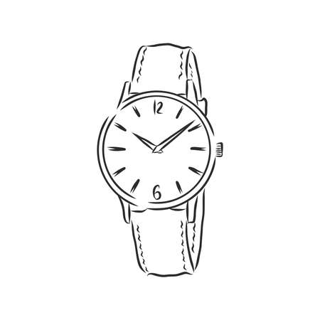 Sketch wrist watch isolated on white background. wrist watch, vector sketch illustration Imagens - 151446411