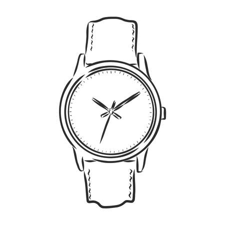 Sketch wrist watch isolated on white background. wrist watch, vector sketch illustration Imagens - 151446448
