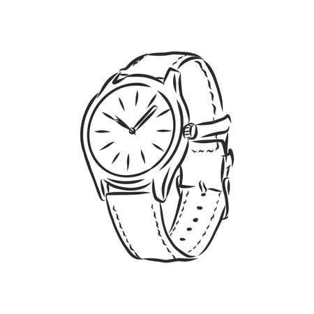 Sketch wrist watch isolated on white background. wrist watch, vector sketch illustration Imagens - 151446607