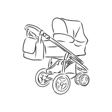 Baby stroller vector sketch icon isolated on background. Hand drawn Baby stroller icon. baby stroller, vector sketch illustration Imagens - 151446366