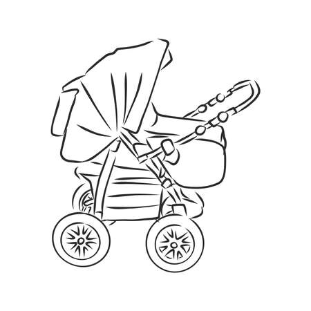 Baby stroller vector sketch icon isolated on background. Hand drawn Baby stroller icon. baby stroller, vector sketch illustration Imagens - 151446593