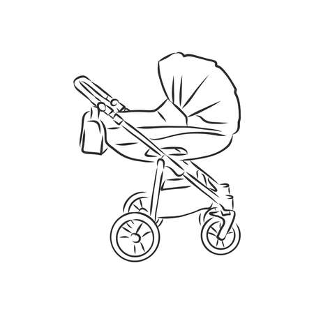 Baby stroller vector sketch icon isolated on background. Hand drawn Baby stroller icon. baby stroller, vector sketch illustration Imagens - 151446297