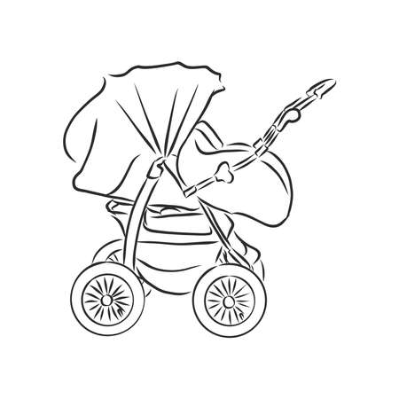 Baby stroller vector sketch icon isolated on background. Hand drawn Baby stroller icon. baby stroller, vector sketch illustration