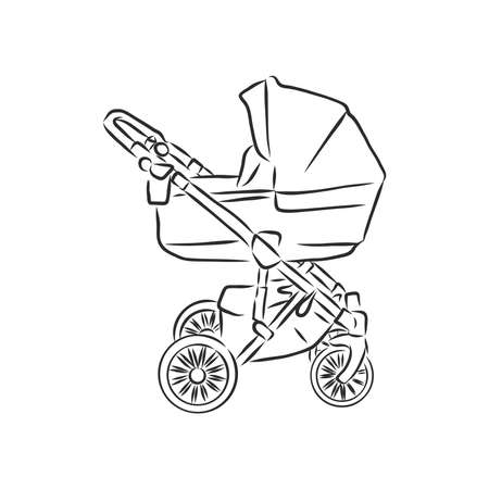 Baby stroller vector sketch icon isolated on background. Hand drawn Baby stroller icon. baby stroller, vector sketch illustration Imagens - 151446546
