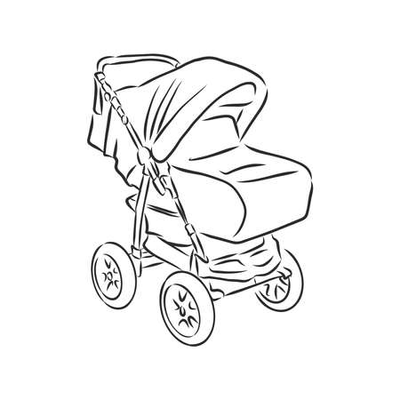 Baby stroller vector sketch icon isolated on background. Hand drawn Baby stroller icon. baby stroller, vector sketch illustration Imagens - 151446515