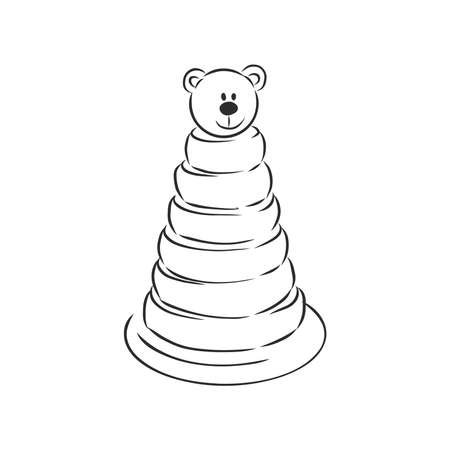 Vector image of childrens toys on a white background - a teddy bunny, a pyramid, a cube and a toy car. childrens toy, vector sketch illustration Imagens - 151973602