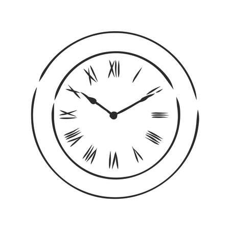 vector sketch illustration . wall clock. wall clock, vector sketch illustration Imagens - 151973790