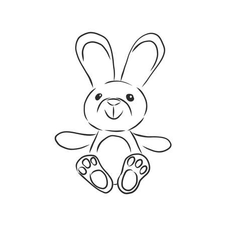 Vector image of childrens toys on a white background - a teddy bunny, a pyramid, a cube and a toy car. childrens toy, vector sketch illustration