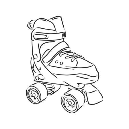 Roller skates icon. Vector illustration of children's roller skates. Hand drawn roller skates. children's roller skates, vector sketch illustration Illustration