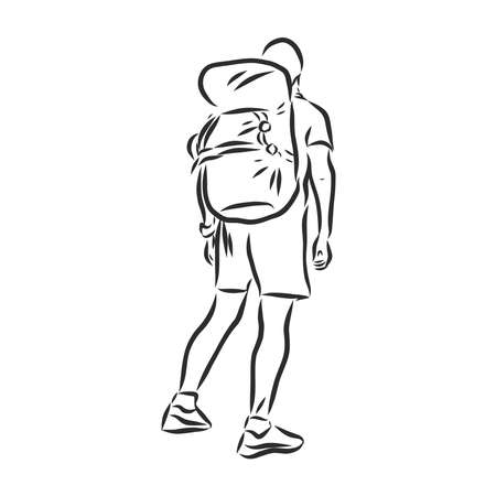 Sketch of man trekking with big backpack Hand drawn illustration 向量圖像