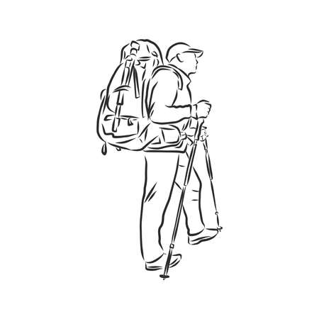Sketch of man trekking with big backpack Hand drawn vector illustration